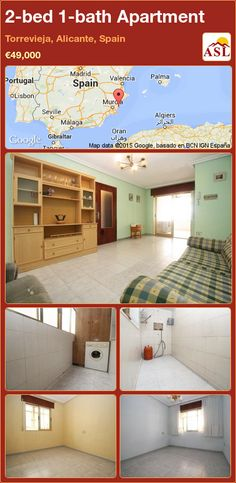 Apartment for Sale in Torrevieja, Alicante, Spain with 2 bedrooms, 1 bathroom - A Spanish Life Apartments For Sale, Valencia, Torrevieja, Alicante Spain, Laundry Room, Terrace, Bathroom, Bed, Palmas