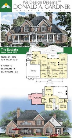 This two-story farmhouse has a welcoming brick exterior. The Eastlake house plan Floor Plans 2 Story, House Plans 2 Story, Ranch House Plans, New House Plans, Dream House Plans, Modern House Plans, House Floor Plans, Brick House Plans, Country Style House Plans