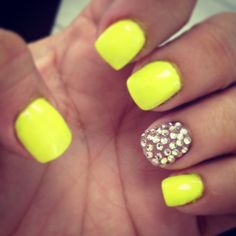 I needed some bling in my life! Hot summer nails! Neon yellow and bling!