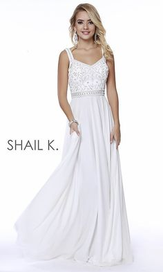 0b8ac262a8be Long V-Neck A-Line Prom Dress by Shail K Plus Size Prom Dresses