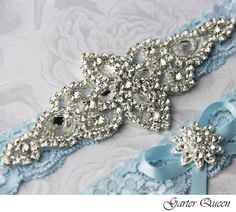 Blue Wedding Garter Set. Blue Lace Garter Set Lace by GarterQueen