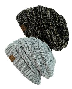 933f6578ec8 NYfashion101 Exclusive Unisex Two Tone Warm Cable Knit Thick Slouch Beanie  Cap