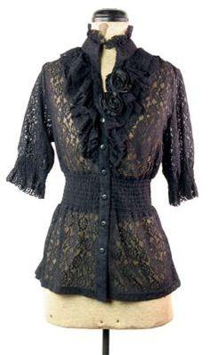lace rosette blouse - black
