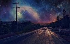 Nebula covered night sky - I wish reality was like this and would walk on that road to meditate on life..