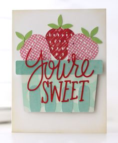 Berry Sweet Card | Kalyn Kepner for Silhouette. Uses image #79184 from the Silhouette store and #63922 for the sentiment. Crafty Craft, Crafting, Silhouette Cameo Projects, Card Tags, Creative Cards, Cute Cards, Greeting Cards Handmade, Cardmaking, Birthday Cards