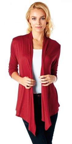 Popana Super-Soft Open Front Drape Cardigan - Made In USA at Amazon Women's Clothing store: Cardigan Sweaters