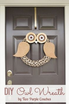 Fall decor and crafts idea: Country Living Magazine Inspired DIY Wreath, created using only materials from around the house. via www.twopurplecouches.com