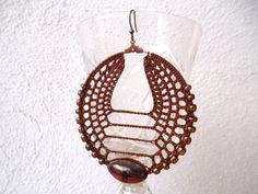 Crochet earrings oversized tribal hoop by Myhandmadepassion