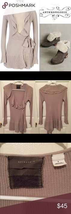 Gorgeous Guinevere ribbed wrap ruffle cardigan Anthropologie wrapped ruffle cardigan by Guinevere. Size small. In excellent pre loved condition. The belt has some minor wear as shown in the last photo (both sides of the belt are shown) 🙆🏻no trades or off site transactions. 🙅🏻Low ball offers will be denied. 💁🏻I believe my prices are already low enough and are very fair, I also offer a bundle discount so I do not accept BUNDLE OFFERS. 🙋🏻Thank you for shopping my closet. 💋…