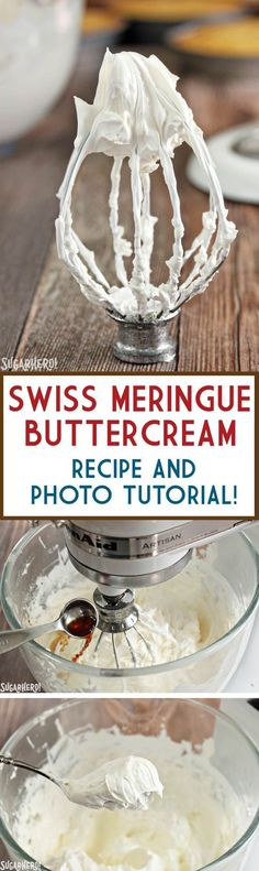 Swiss Meringue Buttercream is delicious and versatile. Learn how to make it with this Swiss Meringue Buttercream recipe and photo tutorial! Cake Frosting Tips, Meringue Frosting, Buttercream Recipe For Piping, Buttercream Ideas, Best Frosting Recipe, Whipped Icing, Vanilla Icing, Cake Decorating Icing, Birthday Cake Decorating