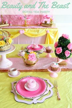 Beauty and the beast party ideas royal tea parties, it's your birthday Beauty And Beast Birthday, Beauty And The Beast Party, Tea Party Birthday, It's Your Birthday, 5th Birthday, Birthday Ideas, Princess Tea Party, Princess Belle, Baby Princess