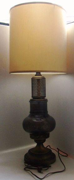 Vintage Retro Mid Century Brass Smoke Gray Glass Table Top Lamp