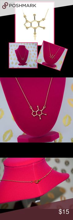 "Gold Caffeine Molecule Necklace- FREE SHIPPING! Can't live without your caffeine fix? Then you MUST have this necklace! Gold tone caffeine molecule on 18"" chain with lobster clasp. Silver available in a separate listing. For free shipping use offer button to make an offer for $7 less than listed price. This offsets the shipping charge and saves you an additional .50! The Maximalist Boutique Jewelry Necklaces"