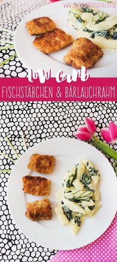 Low Carb Fischstäbchen an Kohlrabi in Bärlauchrahm. Lecker und schnell gemacht! www.lowcarbkoestlichkeiten.de