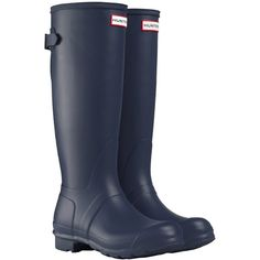 Hunter Women's Original Adjustable Rubber Wellington Boots, Matt Navy (7.510 RUB) ❤ liked on Polyvore featuring shoes, boots, hunter, rain boots, rubber sole boots, navy blue boots, lined rain boots and navy boots