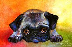 Big Eyed Cute Pug dog painting by Svetlana Novikova, www.SvetlanaNovikova.com