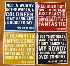Country lyrics coasters