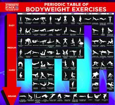 This Table of Exercises Shows You How to Get Fit Without Any Equipment!  Good to know when you're on the go!