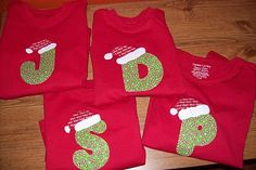 Christmas initial shirts. I wonder if I could get my husband and 17&15 year sons to wear these for Christmas Eve.