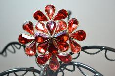1960s Vintage Red Rhinestone Flower Brooch by TabbysVintageShop, $35.00