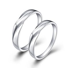 Rhodium Plated Brass Couple Rings 40262