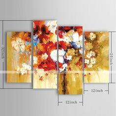 pintura al óleo moderna de flores de impresión conjunto de lienzos pintados a mano con 4 estirado enmarcado 4545050 2016 – $177.99