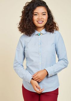 Innovation is your area of expertise, which is evident by the eye-catching updates to this classic blue button up. With the perfect Peter Pan collar, petite wooden buttons, and a swipe of navy inside each sleeve cuff, this ModCloth namesake label blouse is a lightweight look you'll love to rock all the way through those long - but worth-it - days.