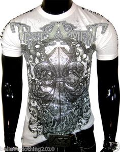 Mens Saints Testament White Designer T Shirt Muscle MMA UFC Stitching Hot | eBay