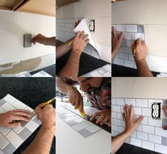 New Peel and Stick Subway Tile Backsplash — Tag & Tibby Design Peel Stick Backsplash, Stick Tile Backsplash, Subway Tile Backsplash, Peel And Stick Tile, Stick On Tiles, Kitchen Backsplash, Backsplash Ideas, Tile Ideas, Decorating Above Kitchen Cabinets