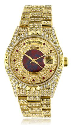 This lavish Mens Rolex Oyster Perpetual Day-Date Custom Diamond Watch is made of solid yellow gold and showcases 14 carats of custom after market set diamonds. Featuring a fully iced out look, this unique Rolex watch has an exquisite custom dial encru Rolex Oyster Perpetual, Diesel Watch, Swiss Army Watches, Expensive Watches, Luxury Watches For Men, Diamond Watches For Men, Diamond Chains For Men, Rolex Watches For Men, Beautiful Watches