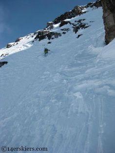 Brittany Walker Konsella backcountry skiing on North Maroon.