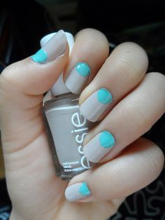 Sand and Turquoise summer Nails. Color blocking