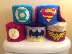 Justice League Toilet Paper Cover Set by SlaughterCrochet on Etsy - aaaaaarrrrgghh! I truely need free pinning time to realize all those projects - this is a bunch of ideas! Crochet Kitchen, Crochet Home, Crochet Gifts, Knit Crochet, Crochet Toilet Roll Cover, Tissue Box Covers, Tissue Holders, Crochet Projects, Sewing Projects