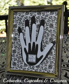 """family handprints framed   Family Handprint Craft.  This is very similar to an idea I had after cutting out handprints with my son using different pieces of scrapbook paper.  Polka dot hands looked really cute.  I like the addition of the """"name plate"""""""