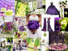 great ideas for purple and green wedding: love the depth of the bride's bouquet and the purple signature drinks.