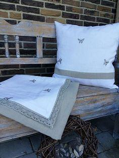 Linen tablecloth and pillow by shabby.romantic / Ľanový obrus Linen Elegancy