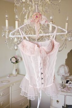 Jennelise ~ Corset Romance - Hang Me Up. Shabby Chic Blog, Shabby Chic Antiques, Shabby Chic Decor, Pink Lingerie, Vintage Lingerie, Boudoir, How To Feel Beautiful, Girly Girl, Pretty In Pink