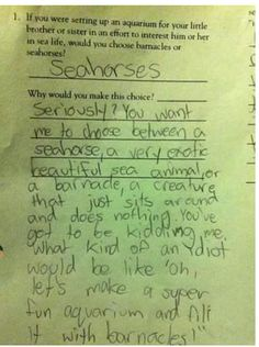 Funny test answers- I love this!! This kid is the future of sarcasm!! Awesome!!