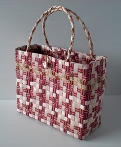 白樺がんび籠編みノート: 古木明美 編んだり、組んだりエコクラフトのバッグとかご P42 千鳥格子のバッグ