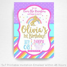 Unicorn Rainbow Birthday Party Printable Invitation YOU Print Hot Pink Gold  This is an emailed file, nothing will be shipped to you. Please include your childs name, age and party details in the notes to seller section at checkout.  We will email your high-resolution, print-ready file within 48 hours of receiving your party details and photo (if photo invitation has been purchased please email your photo to amy [at] printpopparty.com).  Your invite will be formatted to print 5x7 unless…