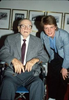 Legendary actor James Cagney in the company of Michael J. Fox in 1983