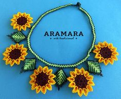 Mexican Huichol Beaded Flower Necklace and Earrings Set by Aramara Beaded Flowers, Crochet Flowers, Flower Video, Sunflower Design, Mexican Jewelry, Bead Art, Bead Crafts, Bead Weaving, Handmade Necklaces