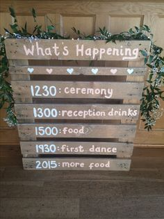 Let your guests know what going on with this rustic order of the day pallet