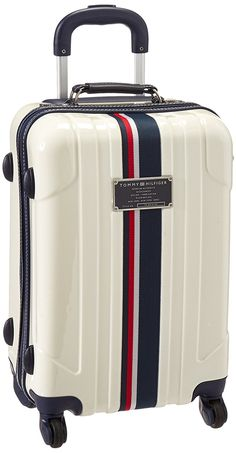 Tommy Hilfiger Lochwood 21 Inch Upright, White, One Size: Light weight Spinner wheels Aluminum handle Push button locking handle Built in tsa lock Cute Luggage, Kids Luggage, Luggage Brands, Luggage Store, Luggage Sets, Suitcase Backpack, Backpack Bags, Tommy Hilfiger Luggage, Claudia Rodriguez