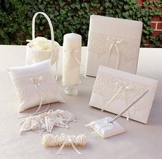Vintage Lace Collection Wedding Accessories Set with Memory Book