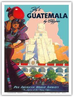 Guatemala by Clipper - Pan American World Airways - Tikal Mayan - Vintage Airline Travel Poster by Mark Von Arenburg c.1949 - Master Art Print - 9in x 12in