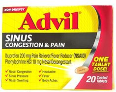 Advil Sinus Congestion  Pain Reliever Coated Tablets 20 Count >>> Want to know more, click on the image.