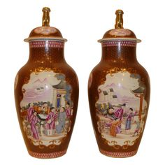 A Pair Of Porcelain Cover Jars | From a unique collection of antique and modern ceramics at http://www.1stdibs.com/asian-art-furniture/ceramics/