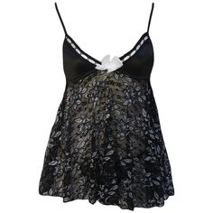 Black Silver Flower Babydoll with G-string ($12) ❤ liked on Polyvore featuring intimates, babydoll chemise and baby doll chemise