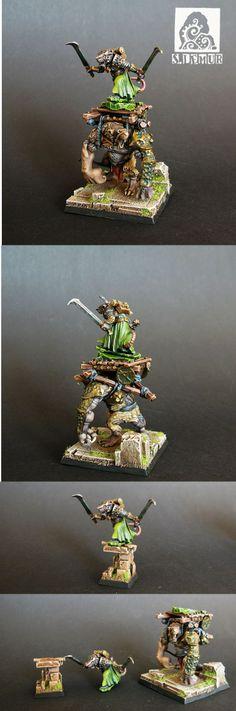 Skaven Warlord on Rat-Ogre Bonebreaker.